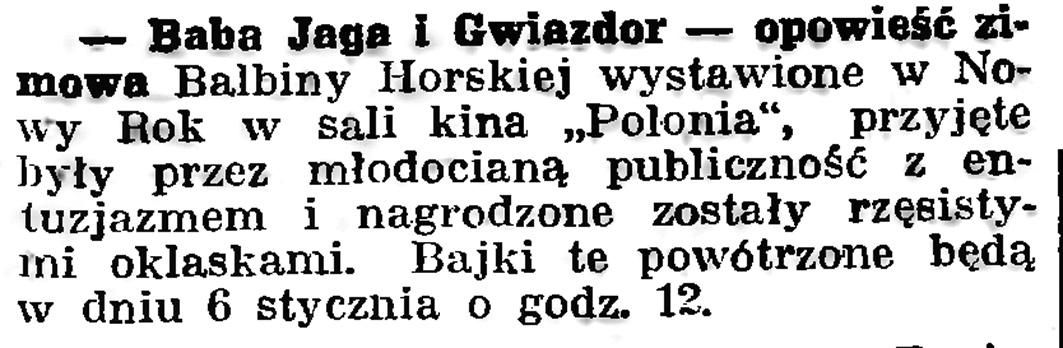 Baba Jaga i Gwiazdor // Gazeta Gdańska. - 1939, nr 5, s. 7