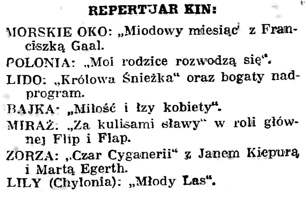 Repertuar kin // Gazeta Gdańska. - 1939, nr 5, s. 7