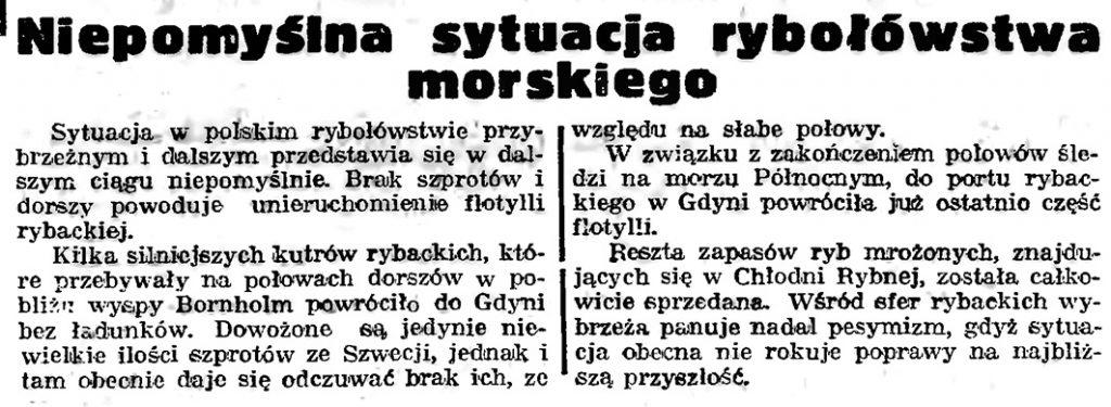 Niepomyślna sytuacja rybołówstwa morskiego // Gazeta Gdyńska. - 1939, nr 5, s. 7