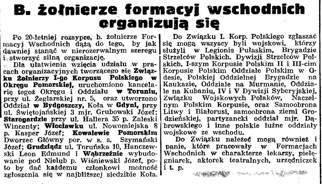 B. żołnierze formacyj wschodnich organizują się // Gazeta Gdańska. - 1939, nr 5, s. 7