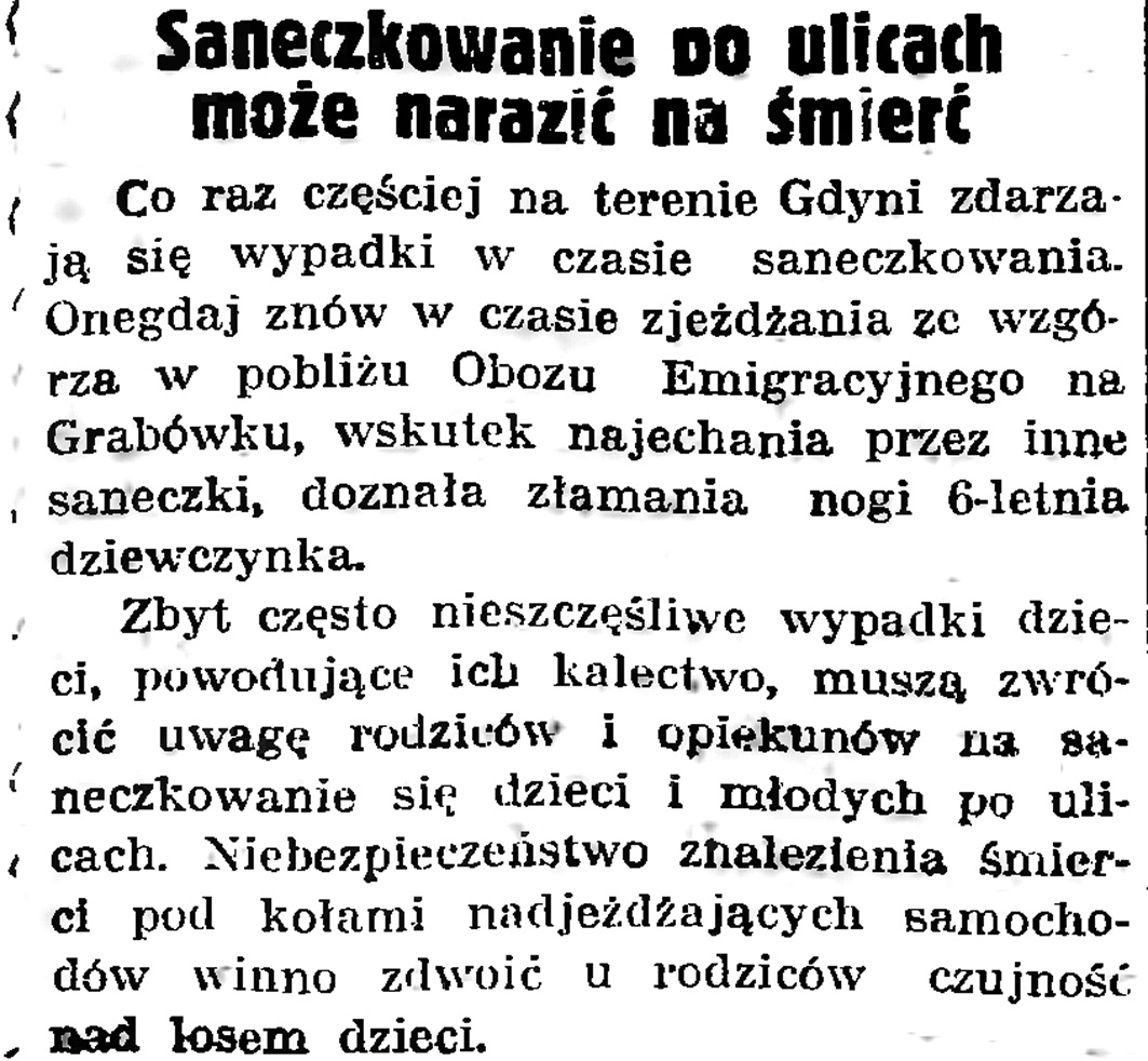 Saneczkowanie po ulicach może narazić na śmierć // Gazeta Gdańska. - 1939, nr 5, s. 7