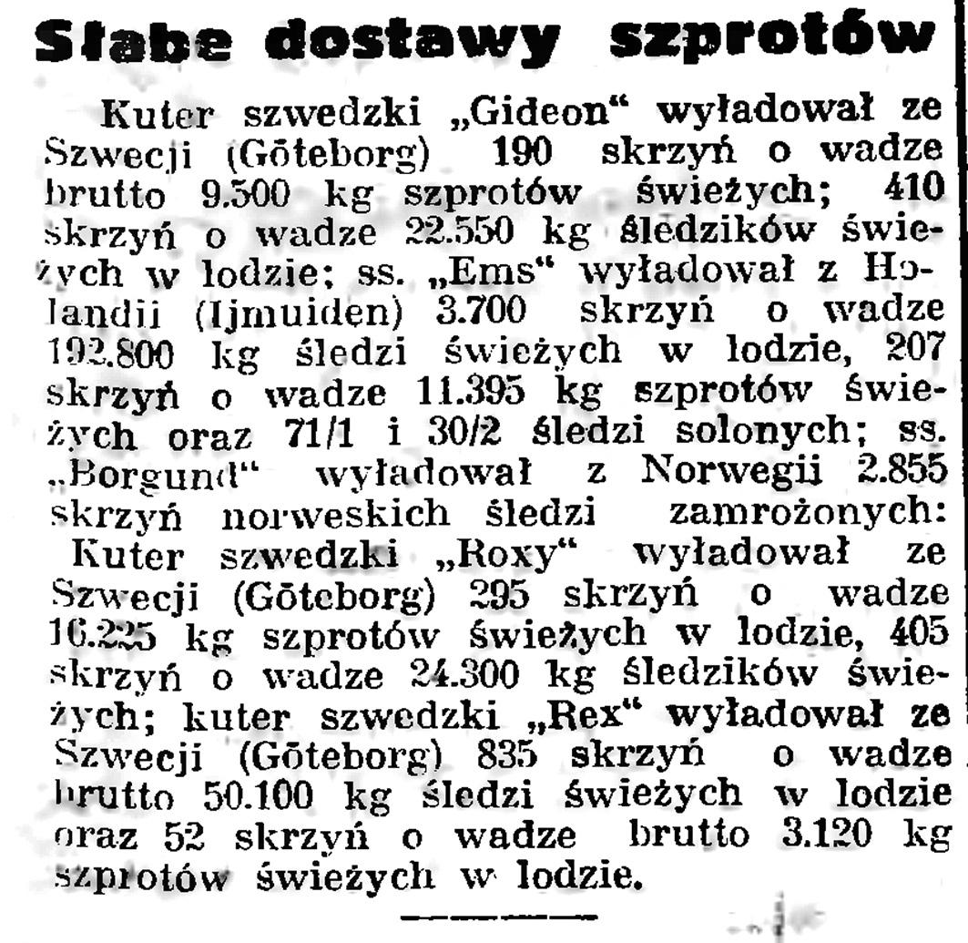 Słabe dostawy szprotów // Gazeta Gdańska. - 1939, nr 5, s. 7