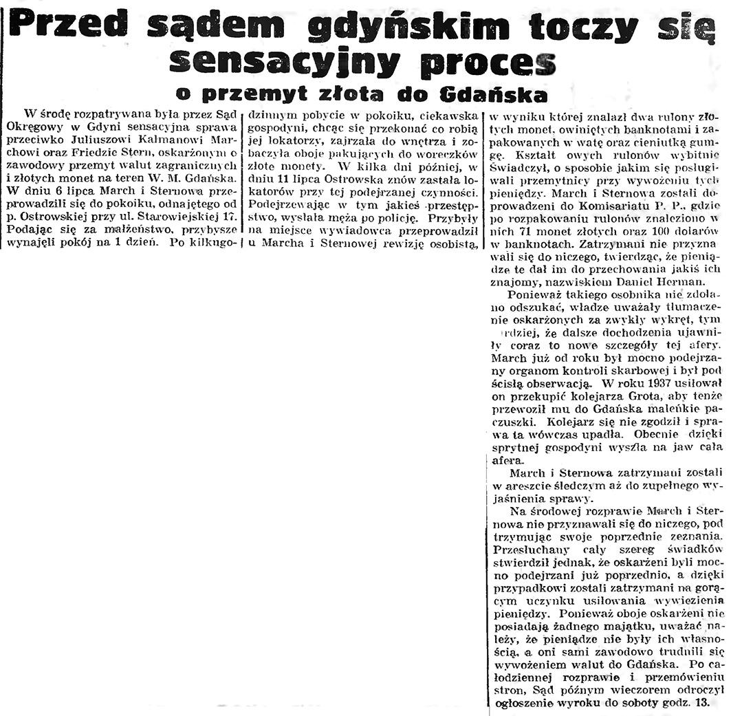 Przed sądem gdyńskim toczy się sensacyjny proces o przemyt złota do Gdańska // Gazeta Gdańska. - 1939, nr 6, s. 13
