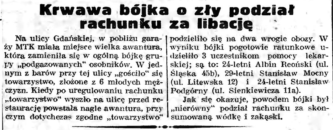 Krwawa bójka o zły podział rachunku za libację // Gazeta Gdańska. - 1939, nr 6, s. 13
