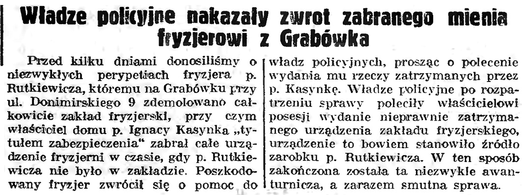 Władze policyjne nakazały zwrot zabranego mienia fryzjerowi z Grabówka // Gazeta Gdańska. - 1939, nr 6, s.13