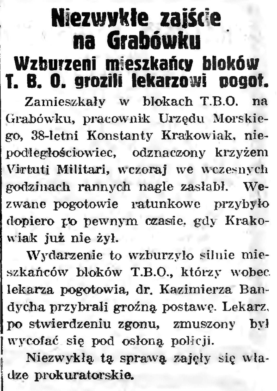 Niezwykle zajście na Grabówku. Wzburzeni mieszkańcy bloków T. B. O.grozili lekarzowi pogotowia // Gazeta Gdańska. - 1939, nr 6, s. 13