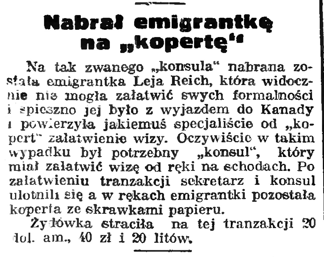 "Nabrał emigrantkę na ""kopertę"" // Gazeta Gdańska. - 1939, nr 6, s. 13"