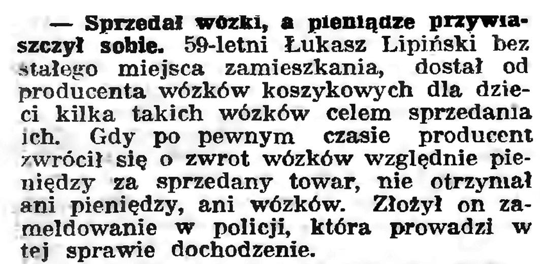 Sprzedał worki, a pieniądze przywłaszczył sobie // Gazeta Gdańska. - 1939, nr 6, s. 13