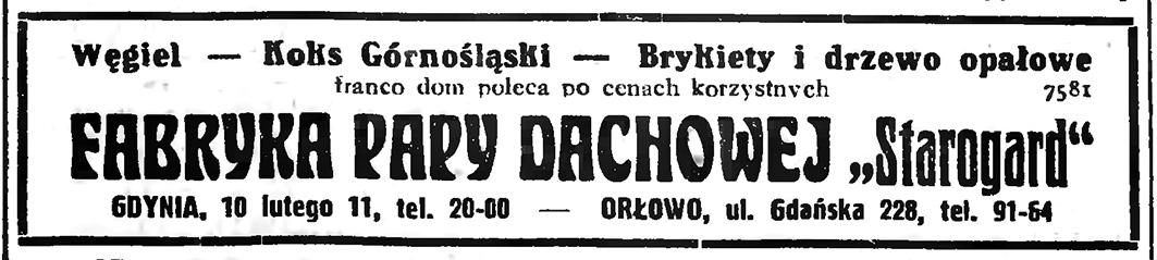 """FABRYKA PAPY DACHOWEJ """"Starogard""""   Węgiel - Koks Górnośląski - Brykiety i drzewo opałowe   GDYNIA, 10 LUTEGO 11"""