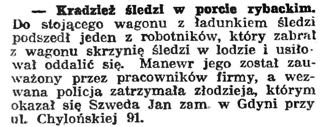 Kradzież śledzi w porcie rybackim // Gazeta Gdańska. - 1939, nr 6, s. 14