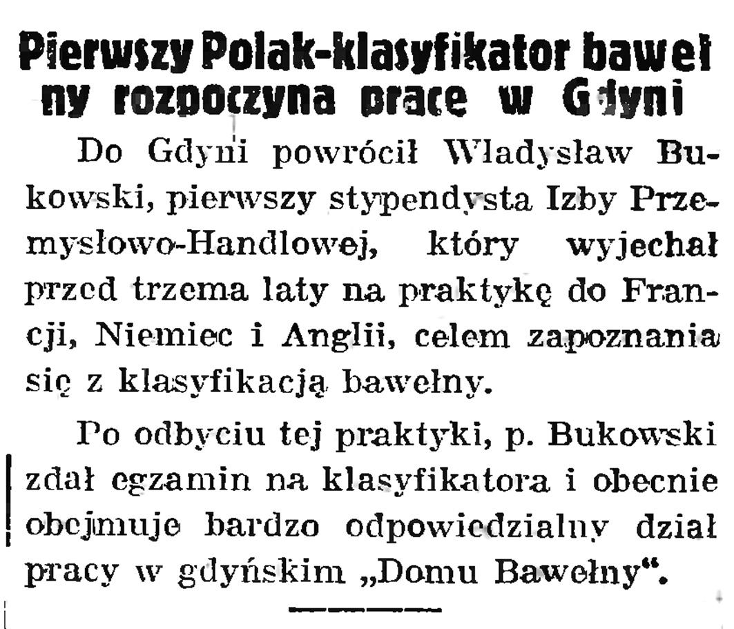 Pierwszy Polak - klasyfikator bawełny rozpoczyna pracę w Gdyni // Gazeta Gdańska. - 1939, nr 8, s. 7