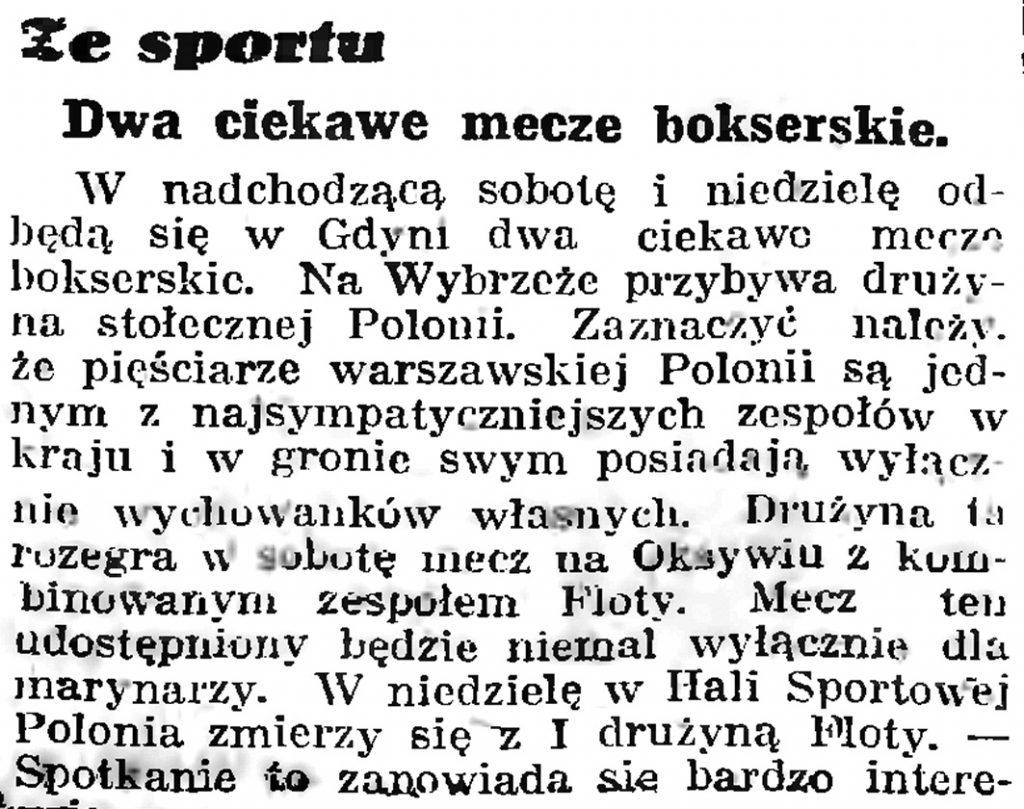 Ze sportu: dwa ciekawe mecze bokserskie // Gazeta Gdańska. - 1939, nr 8, s. 7