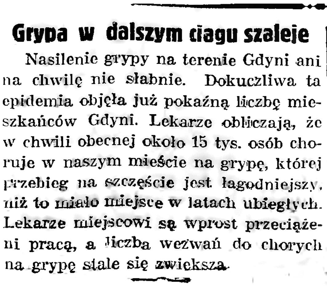 Grypa w dalszym ciągu szaleje // Gazeta Gdańska. - 1939, nr 8, s. 7