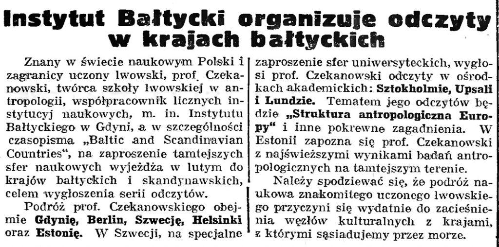 Instytut Bałtycki organizuje odczyty w krajach bałtyckich // Gazeta Gdańska. - 1939, nr 8, s. 7