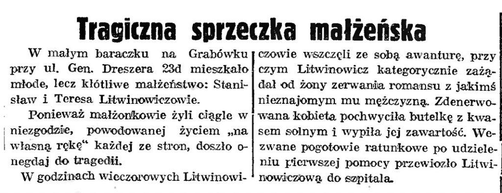 Tragiczna sprzeczka małżeńska // Gazeta Gdańska. - 1939, nr 8, s. 7