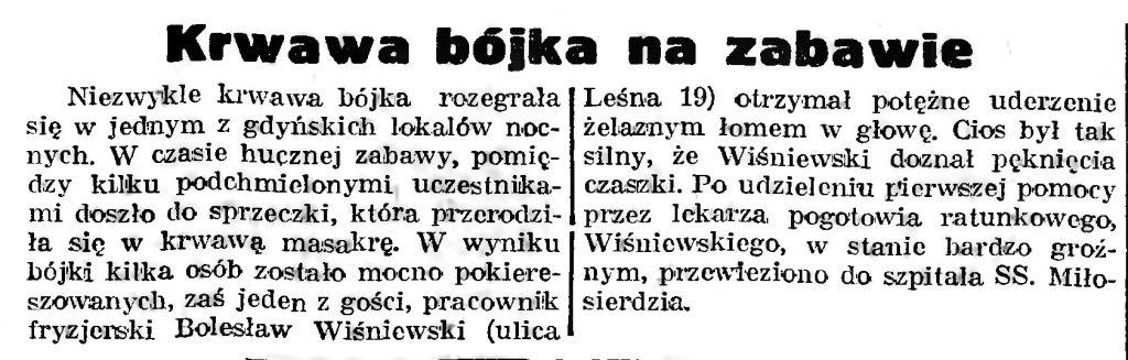 Krwawa bójka na zabawie // Gazeta Gdańska. - 1939, nr 8, s. 7
