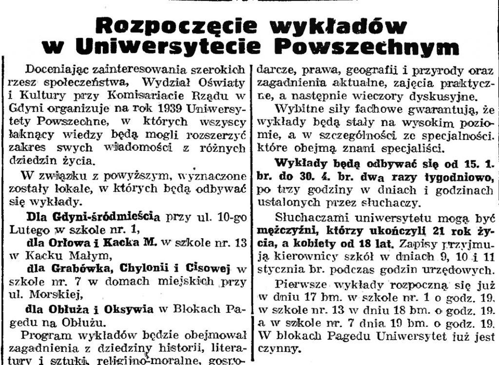 Rozpoczęcie wykładów w Uniwersytecie Powszechnym // Gazeta Gdańska. - 1939, nr 8, s. 7