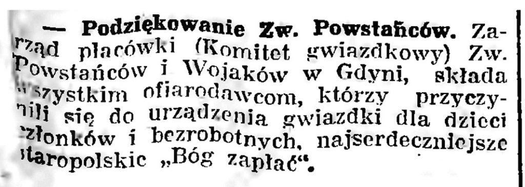 Podziękowanie Zw. Peowiaków // Gazeta Gdańska. - 1939, nr 8, s. 7