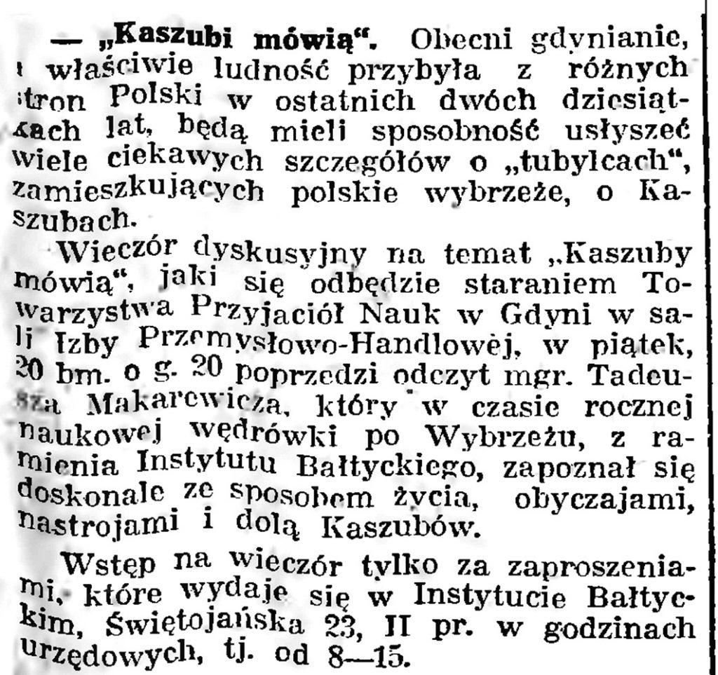 """""""Kaszubi mówią"""" [Wieczór dyskusyjny zorganizowany przez Towarzystwo Przyjaciół Nauk w Gdyni] // Gazeta Gdańska. - 1939, nr 8, s. 7"""