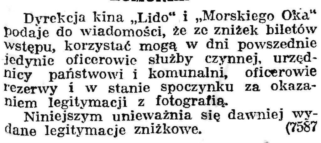 """[Zniżki biletów w kinie """"Lido"""" i """"Morskie Oko""""] // Gazeta Gdańska. - 1939, nr 8, s. 7"""