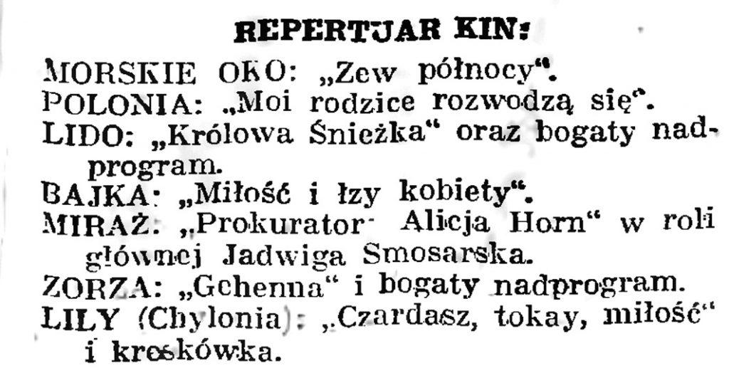Repertuar kin // Gazeta Gdańska. - 1939, nr 8, s. 7