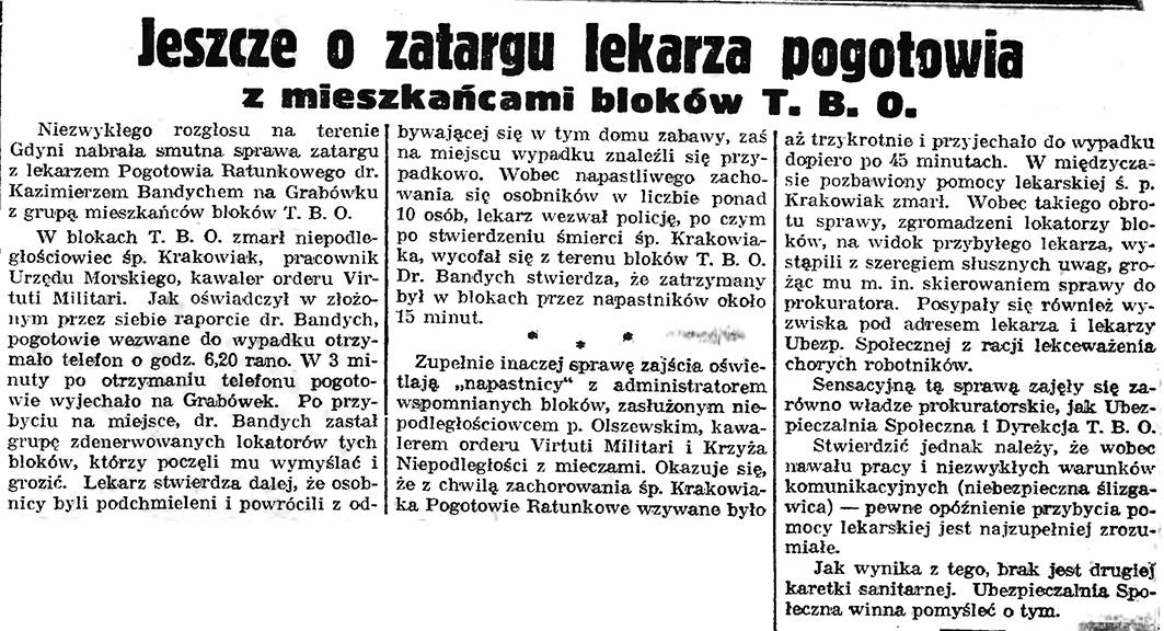 Jeszcze o zatargu lekarza pogotowia z mieszkańcami bloków T. B. O. // Gazeta Gdańska. - 1939, nr 8, s. 9