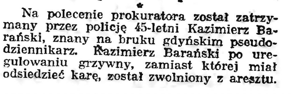 [Zatrzymanie Kazimierza Barańskiego] // Gazeta Gdańska. - 1939, nr 9, s. 7