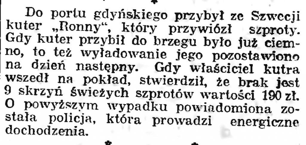 [Kradzież świeżych szprotów] // Gazeta Gdańska. - 1939, nr 9, s. 7