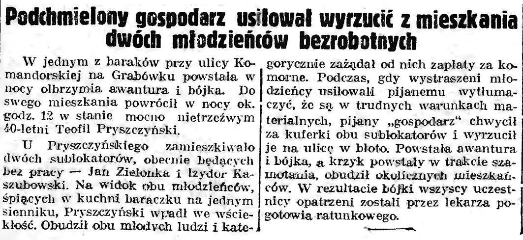 Podchmielony gospodarz usiłował wyrzucić z mieszkania dwóch młodzieńców bezrobotnych // Gazeta Gdańska. - 1939, nr 9, s. 7