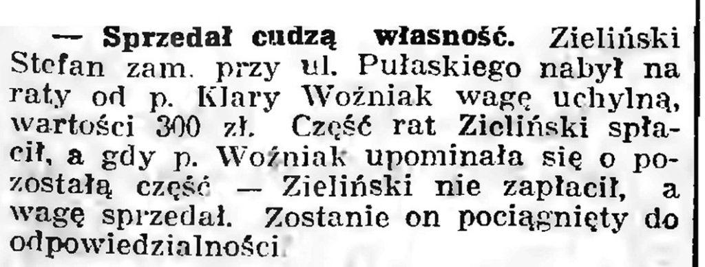 Sprzedał cudzą własność // Gazeta Gdańska. - 1939, nr 9, s. 7