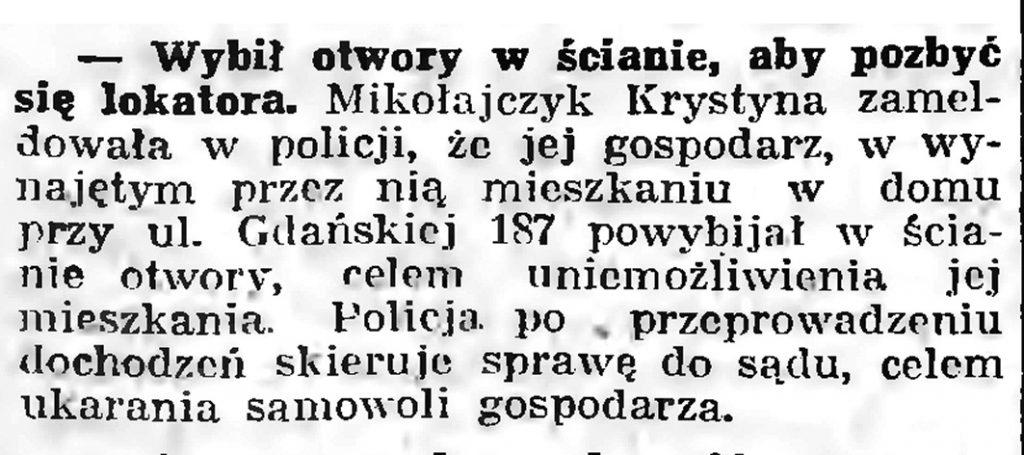 Wybił otwory w ścianie, aby pozbyć się lokatora // Gazeta Gdańska. - 1939, nr 8, s. 7