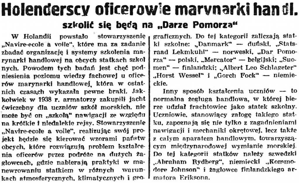 """Holenderscy oficerowie marynarki handl. szkolić się będą na """"Darze Pomorza"""" // Gazeta Gdańska.- 1939, nr 108, s. 6"""