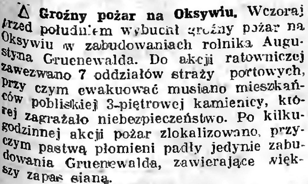 Groźny pożar na Oksywiu // Słowo Pomorskie [Brak danych]