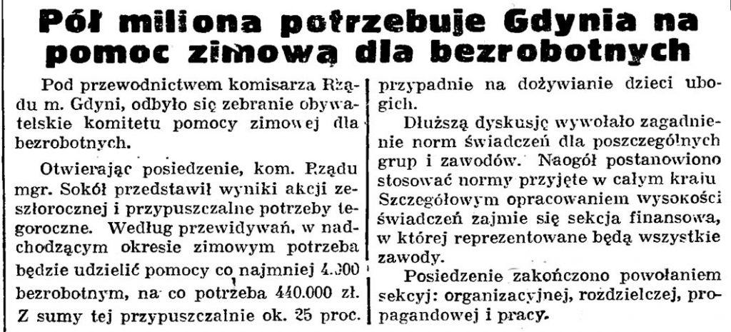 Pół miliona potrzebuje Gdynia na pomoc zimową dla bezrobotnych