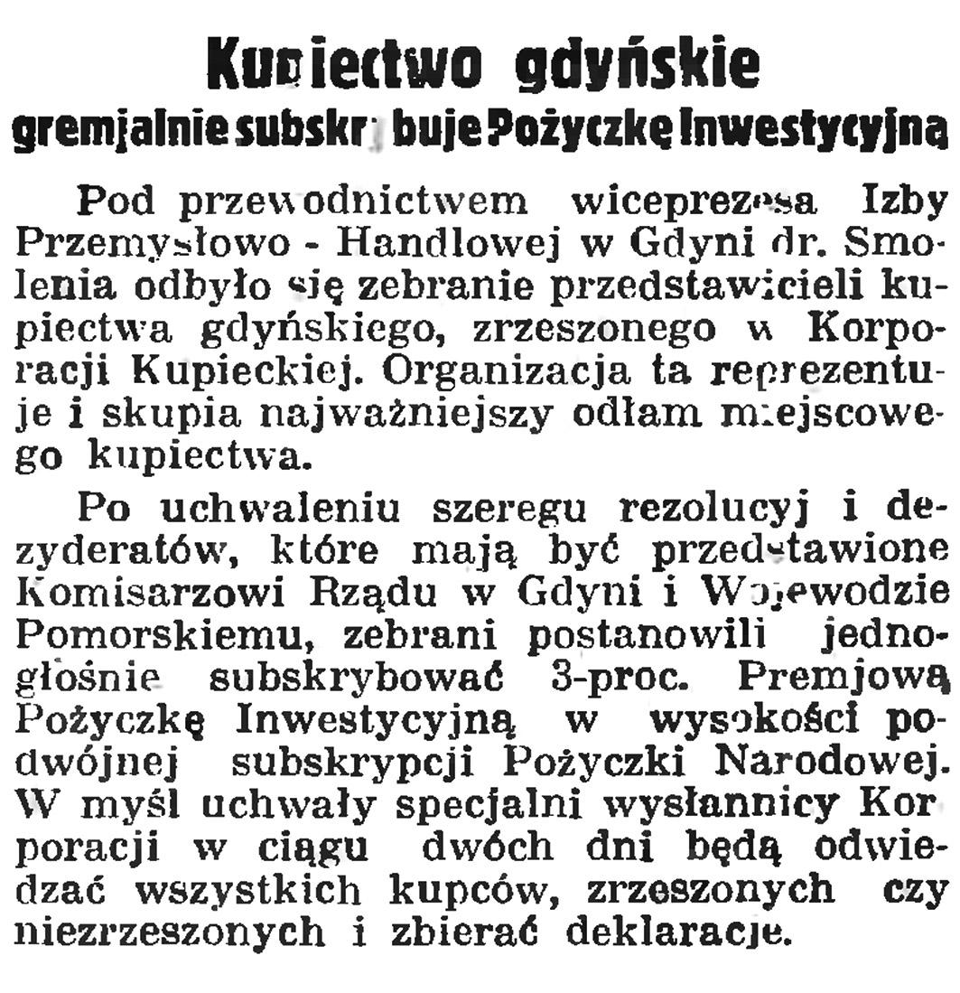 Kupiectwo gdyńskie gremjalnie subskrybuje Pożyczkę Inwestycyjną // Gazeta Gdańska. - 1935, nr 104, s. 6