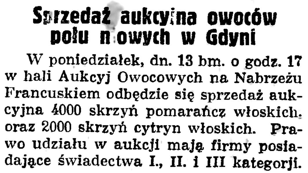 Sprzedaż aukcyjna owoców południowych w Gdyni // Gazeta Gdańska.- 1935, nr 105, s. 11