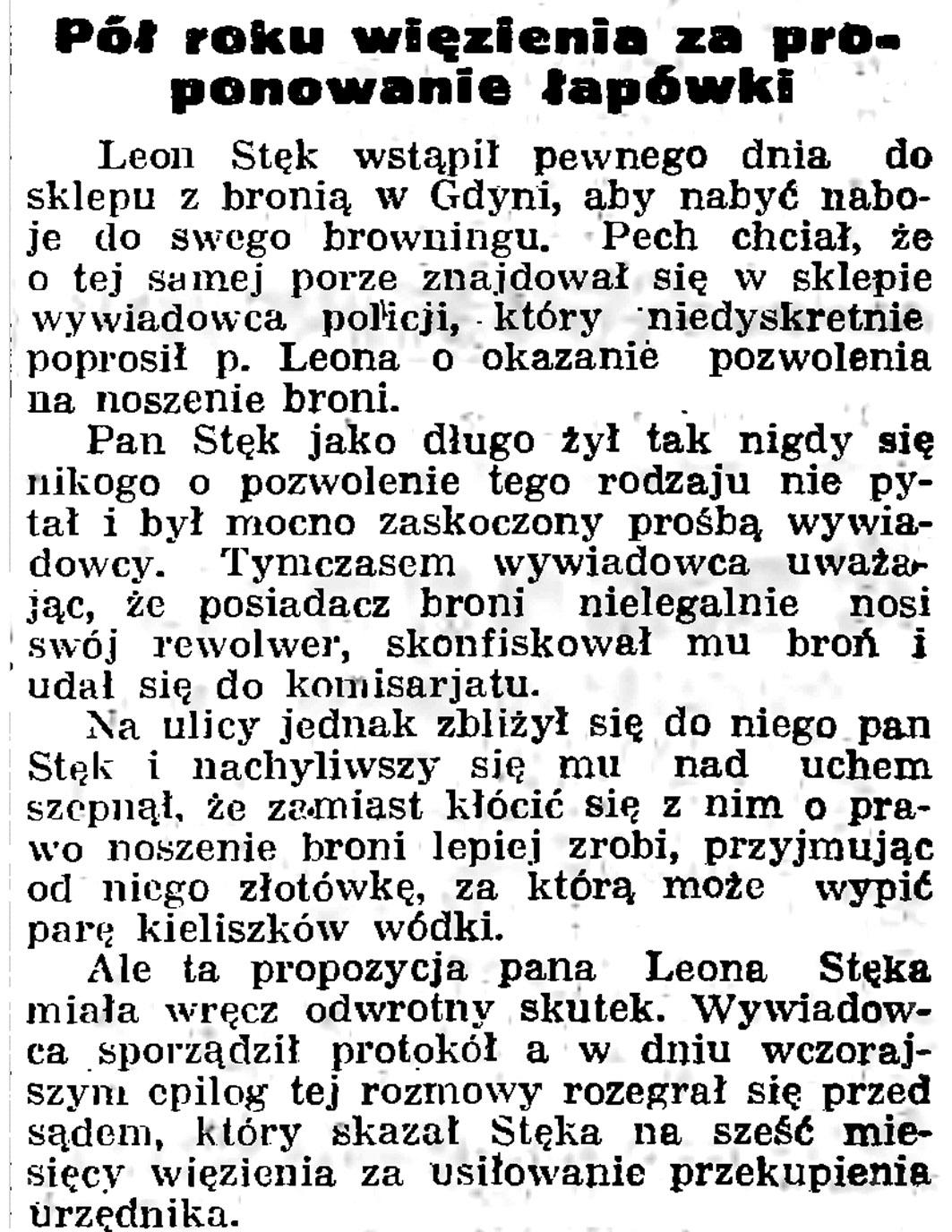 Pół roku więzienia za proponowanie łapówki // Gazeta Gdańska. - 1935, nr 105, s. 12