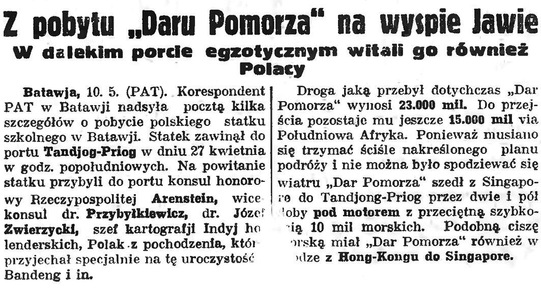 """Z pobytu """"Daru Pomorza"""" na wyspie Jawie. W dalekim porcie egzotycznym witali go również Polacy // Gazeta Gdańska. - 1935, nr 105, s 2"""