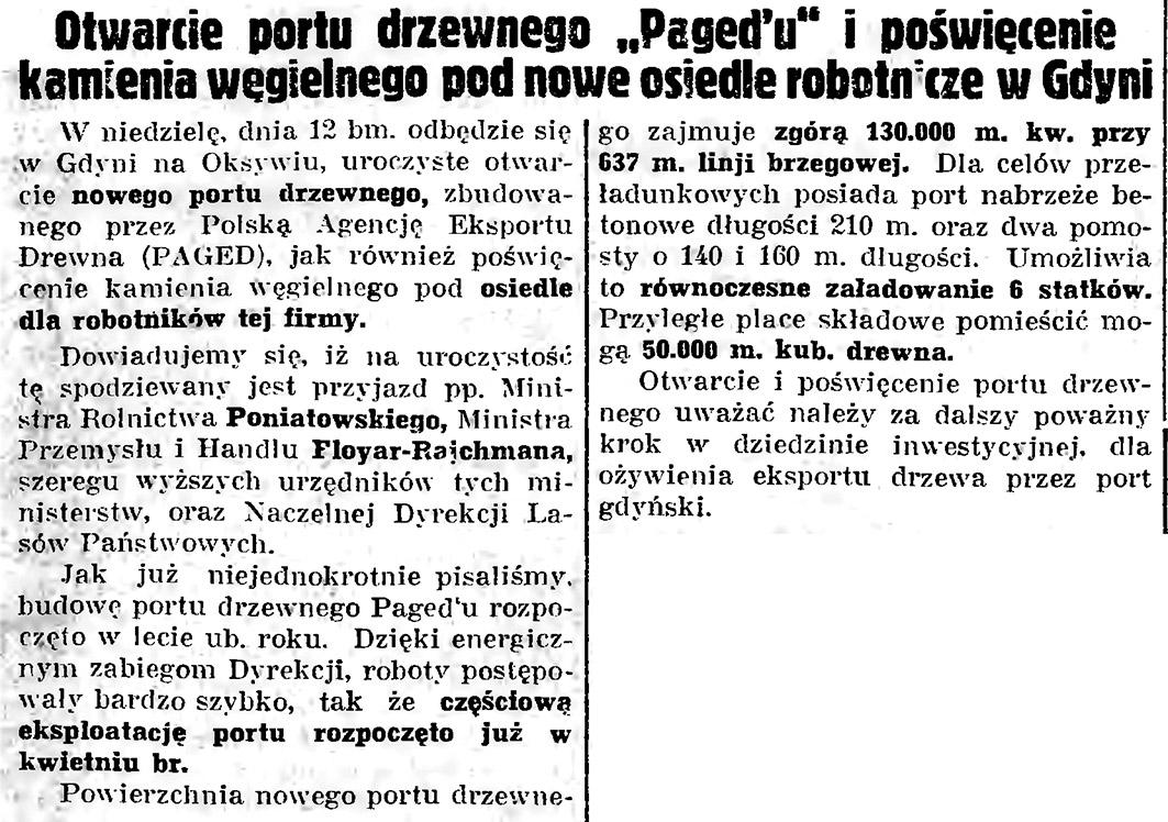 """Otwarcie portu drzewnego """"Pagedu"""""""
