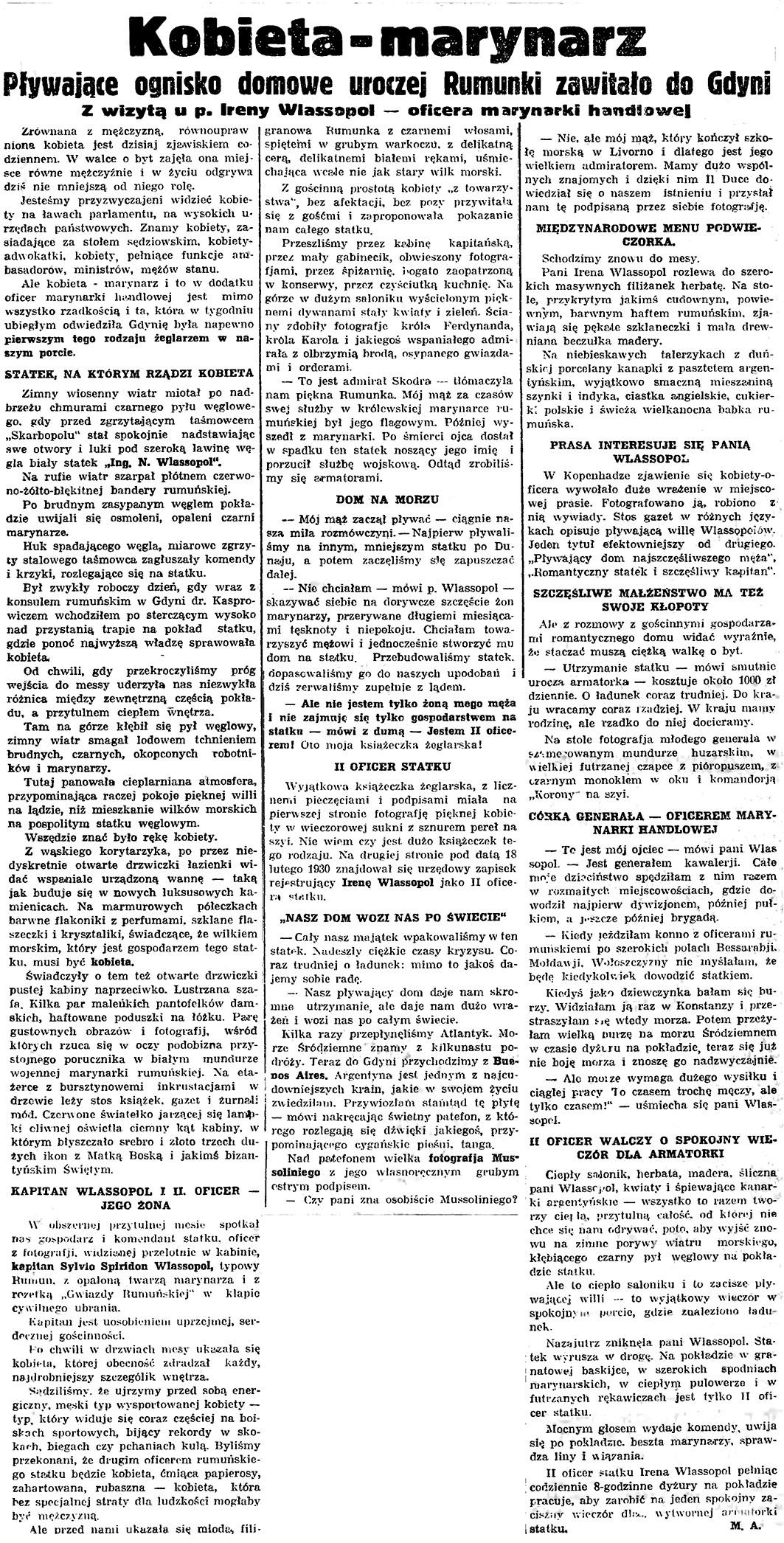 Kobieta - marynarz. Pływające ognisko uroczej Rumunki zawitało do Gdyni z wizytą u p. Wlassopol - oficera marynarki handlowej / M.A. // Gazeta Gdańska. - 1935, nr 105, s. 4
