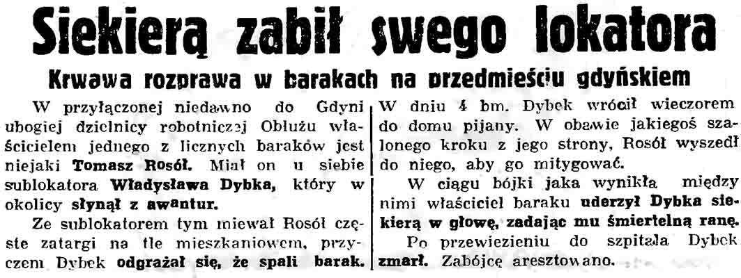 Siekierą zabił swego lokatora // Gazeta Gdańska. - 1936, nr 104, s. 8