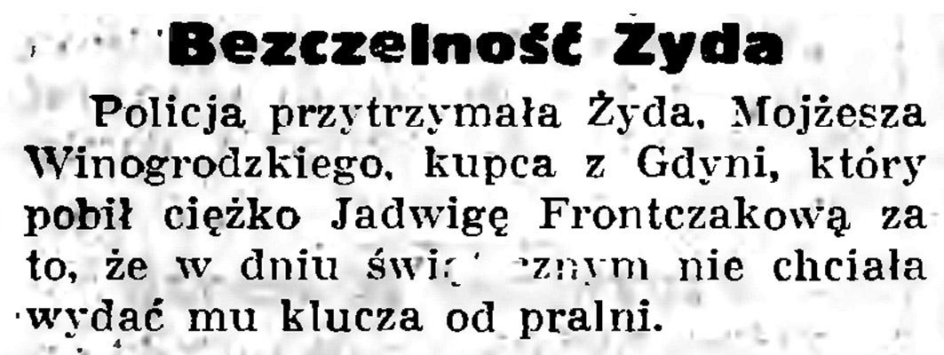 Bezczelność Żyda // Gazeta Gdańska. - 1936, nr 104, s. 8