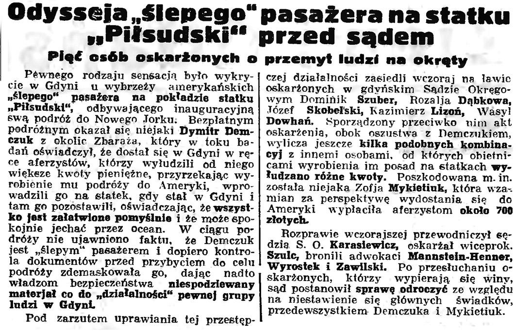 """Odysseja """"ślepego"""" pasażera na statku """"Piłsudski"""""""