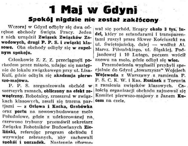 1 Maj w Gdyni. Spokój nigdzie nie został zakłócony // Gazeta Gdańska. - 1937, nr 101, s. 13
