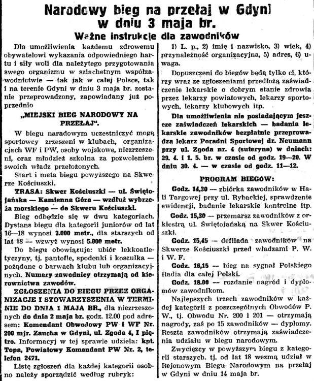Narodowy bieg na przełaj w Gdyni w dniu 3 maja br.