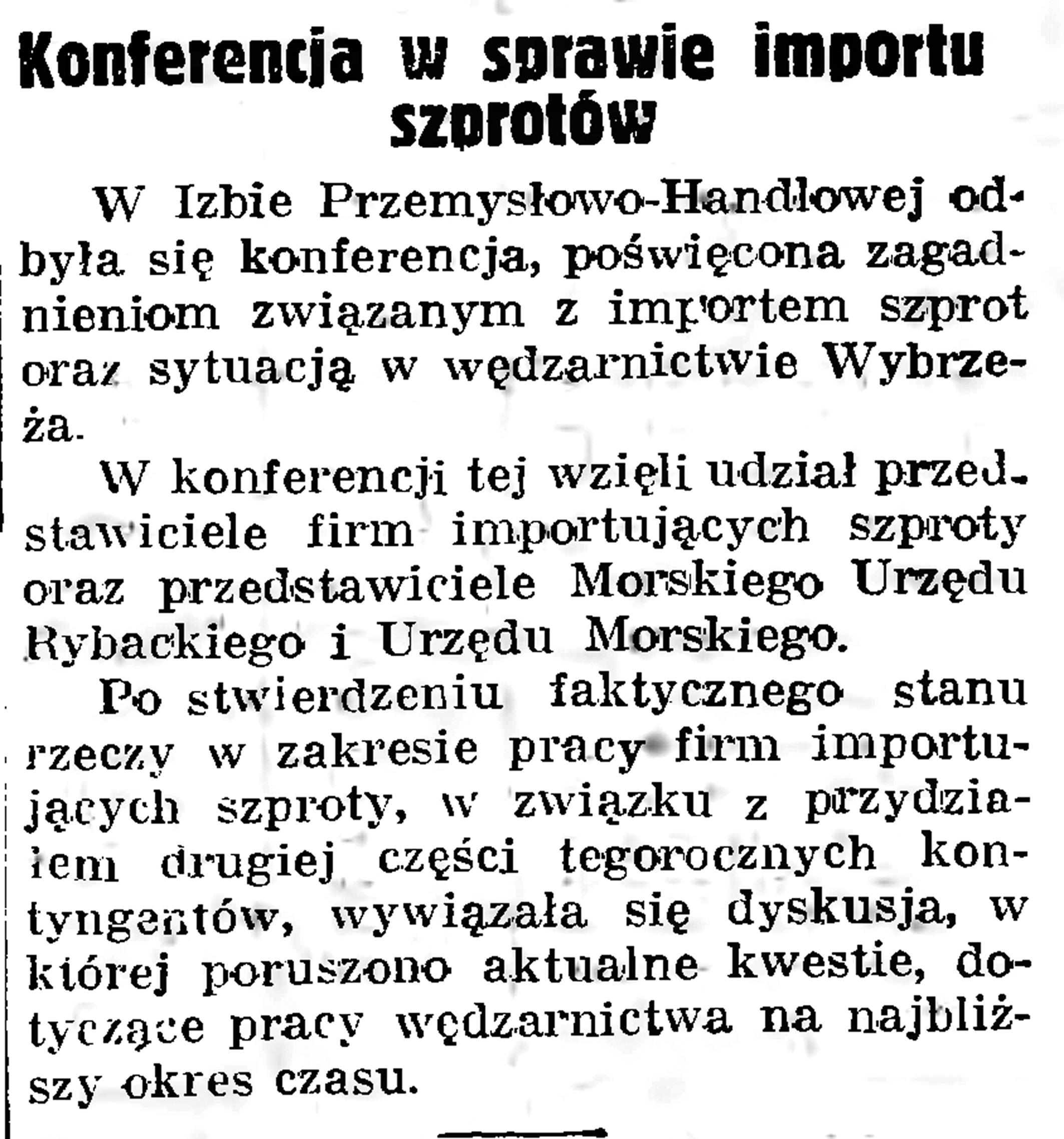 Konferencja w sprawie importu szprotów // Gazeta Gdańska. - 1935, nr 12, s. 12