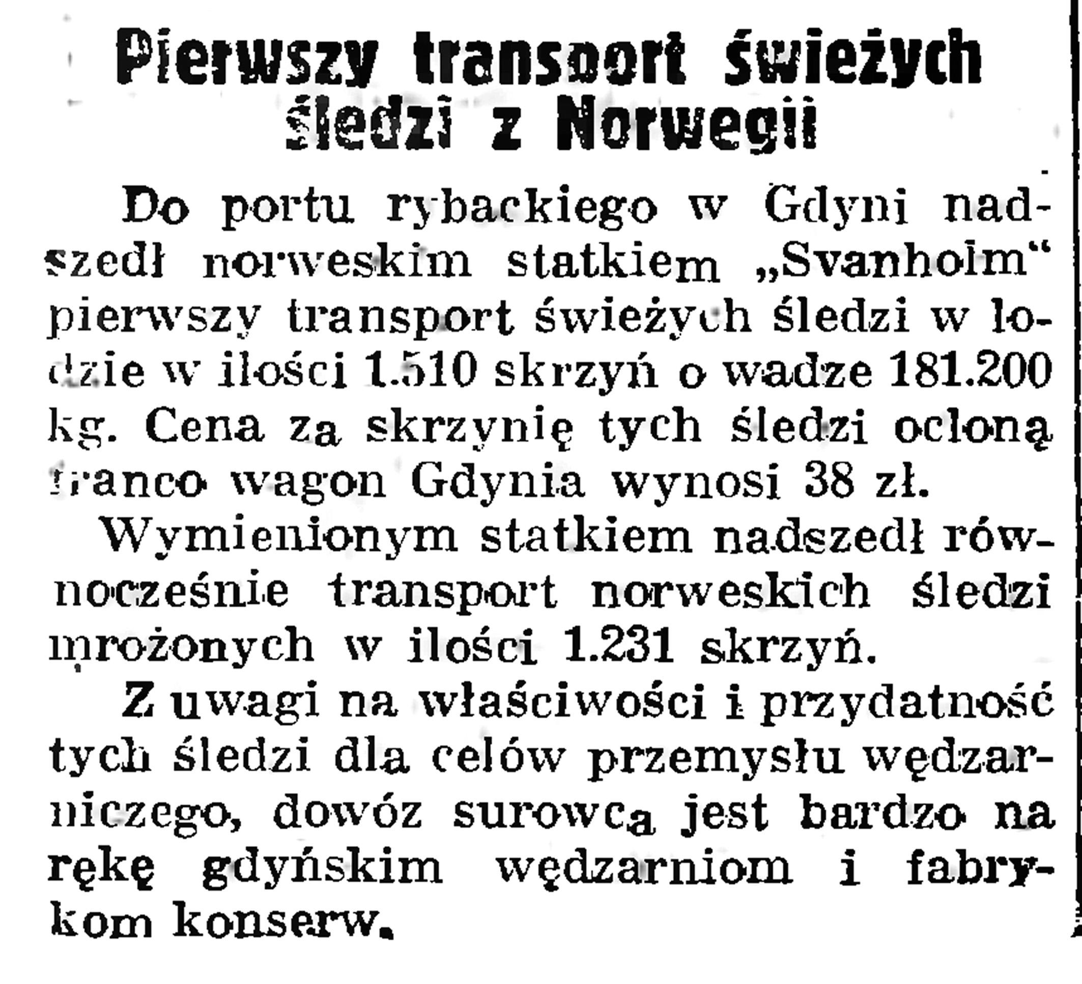 Pierwszy transport świeżych śledzi z Norwegii // Gazeta Gdańska. - 1939, nr 12, s. 12