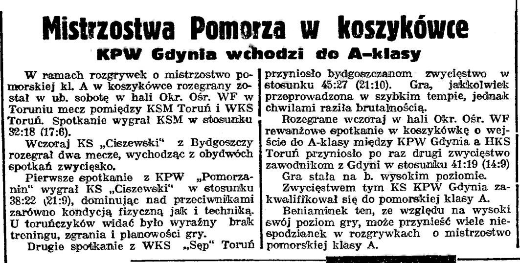 Mistrzostwa Pomorza w koszykówce. KPW Gdynia wchodzi do A-klasy // Gazeta Gdańska. - 1939, nr 13, s. 4