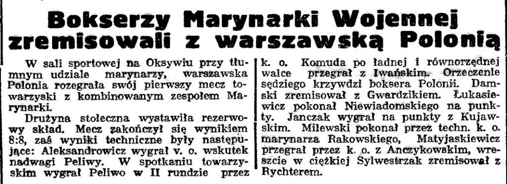 Bokserzy Marynarki Wojennej zremisowali z warszawską Polonią // Gazeta Gdańska. - 1939, nr 13, s. 4