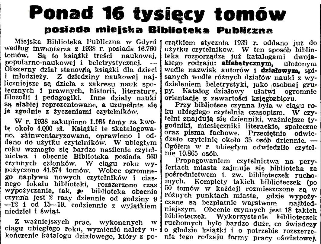 Ponad 16 tysięcy tomów posiada miejska Biblioteka Publiczna // Gazeta Gdańska. - 1939, nr 14, s. 7